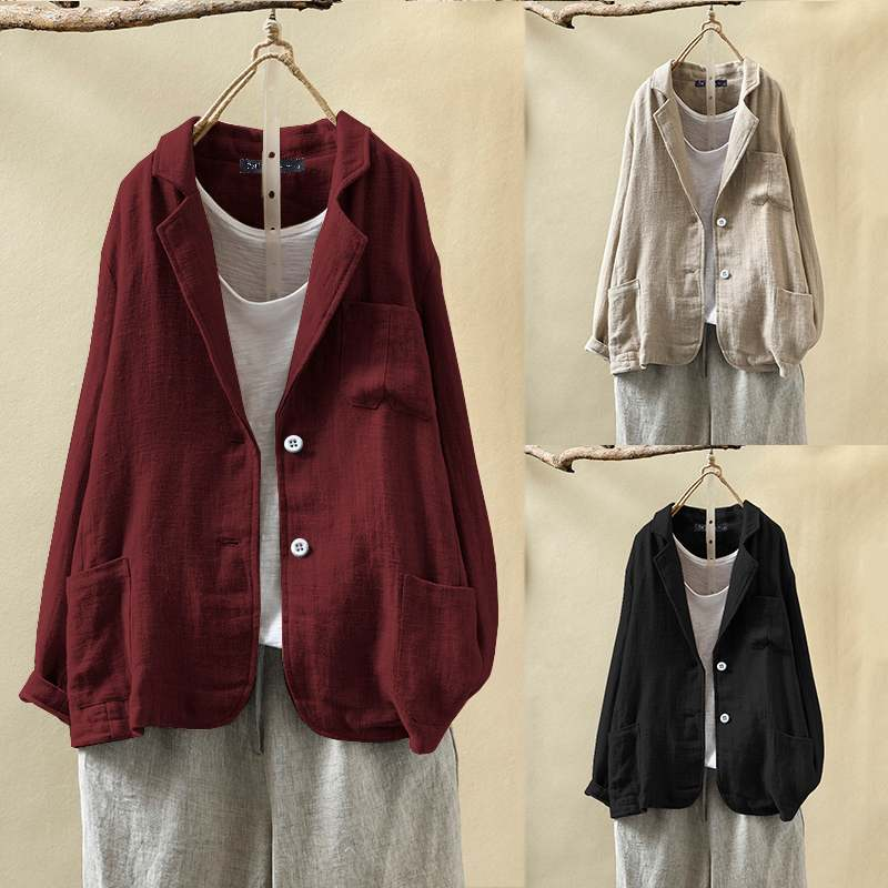ZANZEA Women Casual Business Blazers 2020 Spring Autumn Coat Jackets Vintage Solid Loose Pockets Suit Blazer Long Sleeve Outwear