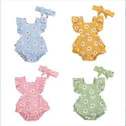 Комбинезон lioraitiin с принтом ромашки для новорожденных девочек 0-24 мес., хлопковый Мягкий комбинезон с открытыми плечами и повязкой на голову, ...