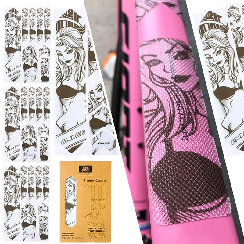 Enlee 3D Mtb Telaio Adesivi di Protezione di Usura-Resistente Anti-Skid Autoadesivi Impermeabili Della Bici Della Strada Mountain Accessori per Biciclette