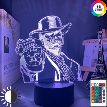 Game Red Dead Redemption 2 Gift Acrylic 3d Lamp for Room Decor Nightlight RDR2 Arthur Morgan Figure Kids Led Night Light