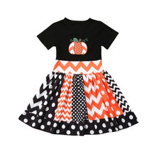 Emmababy Able Toddler Kids Baby Girls Halloween Pumpkin Dress Princess Party Striped Dresses Sunsuit new
