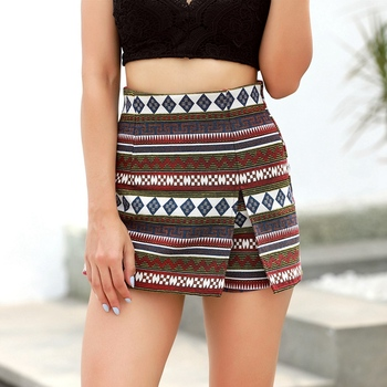 Fashion Bohemian Women Shorts High Waist Slim Nationality Style Trousers Irregular Short Skirts S