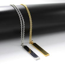 Sangsy Trendy Bar Pendant Necklace ID Stainless Steel Women Chain Necklaces Rose Gold Silver Collier