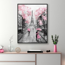 Romantic City Couple Paris Tower Landscape HD Print Abstract Art Oil Painting on Canvas Wall Art for Living Room Home Decor 2pic set paris city landmarks and cars modern painting hd prints on canvas wall art for living room canvas printings home decor
