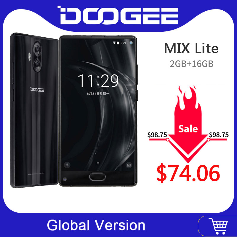 Original DOOGEE MIX Lite Mobile Phone 2GB+16GB Dual Camera 5.2'' MTK6737 Quad Core Android 7.0 3080mAh Fingerprint ID Smartphone