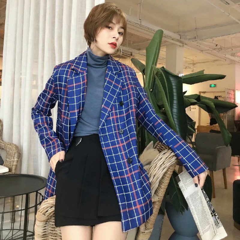 Women's Retro Checked Jacket Spring 2020 Casual Loose Women's Blazer Fashion plus size double breasted coat
