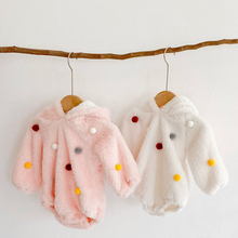 Baby Fleece Jumpsuit Hooded Long-Sleeve Infant Winter Fashion Pompom-Design Warm