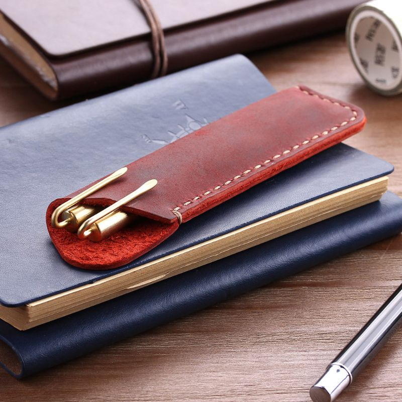 Retro Retro Leather Pen Holder Rounded Corner Ballpoint Pen Protective Sleeve Cover Straight Stiched Handmade Fountain Pouch For