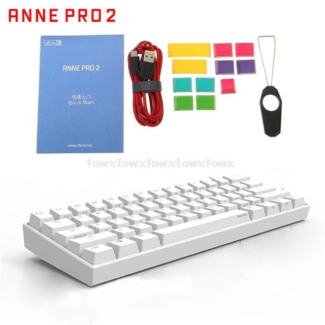Anne Pro2 60% Bluetooth 4,0 Typ C RGB 61 Schlüssel Mechanische Gaming Tastatur Kirsche Schalter Gateron Schalter