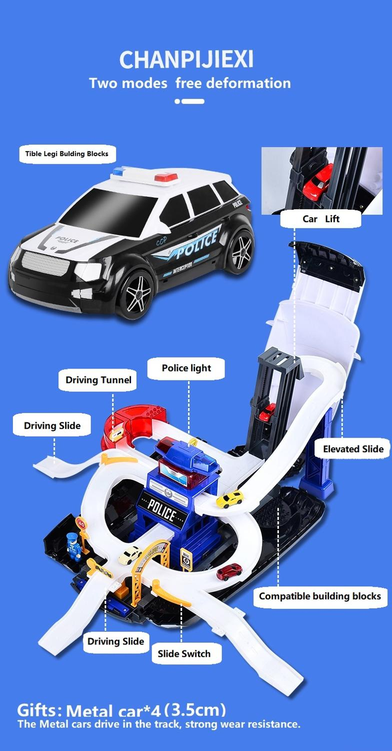 DIY Racing Tracks Electric Car Toys Parking lot with Light Music Track toy Storage box collection baby gift Children toy car - 3