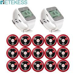 Retekess 999ch 2 pçs td108 relógio receptor + 15pcs botão de chamada transmissor sem fio pager restaurante garçom sistema chamada 433 mhz