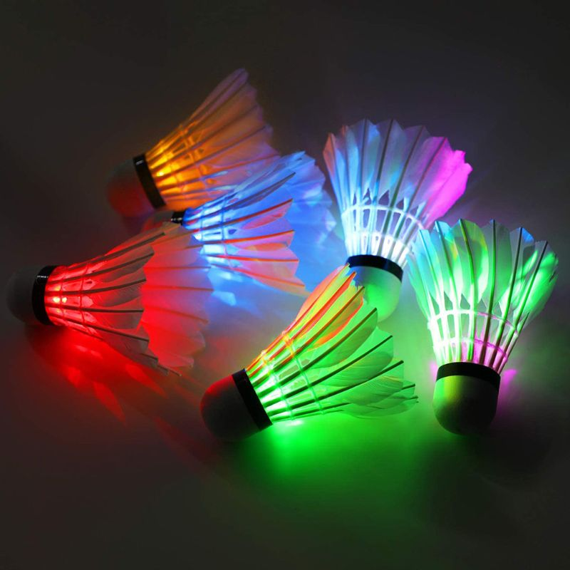 6Pcs LED Badminton Ball Dark Night Colorful Lighting Shuttlecock Indoor Outdoor Sports Accessories
