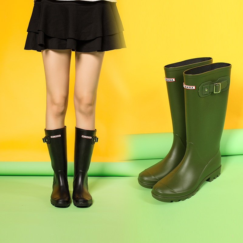 Adult Women High Rainboots Matte Antiskid Galoshes Waterproof Rain Shoes Riding Boots Jack Boot Green Black Pink