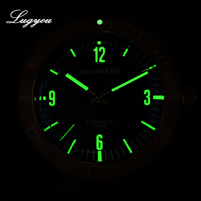 Image 5 - Lugyou さんマーティンブロンズダイバー腕時計自動回転ベゼル 200 メートル耐水性サファイアドーム型クリスタル本革ストラップ機械式時計   -