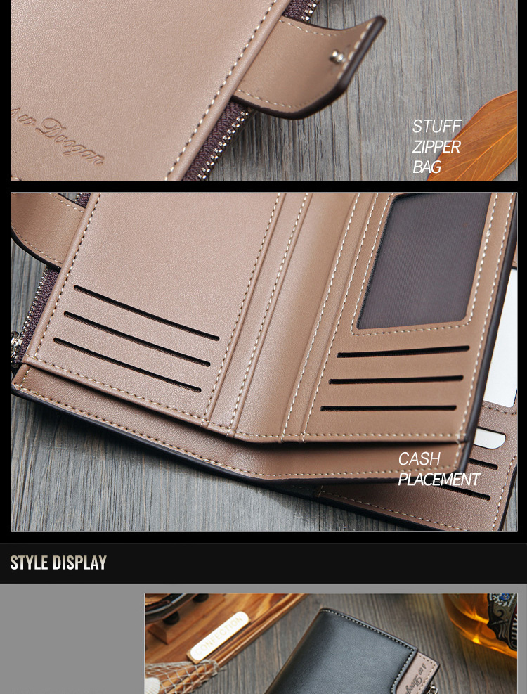 Hfb1d4823cb49497d92c3a2c246cc6f4aR - New Korean casual men's wallet Short vertical locomotive British casual multi-function card bag zipper buckle triangle folding