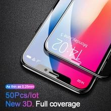 50 Pcs 0.25 millimetri 3D Copertura Completa di Protezione In Vetro Temperato Per il iPhone 11 Pro Xs Max X Xr SE 2020 8 7 6 6s Plus Protezione Dello Schermo di Vetro