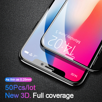 50 Pcs 0.25mm 3D Full Cover Protective Tempered Glass For iPhone 11 Pro Xs Max X Xr SE 2020 8 7 6 6s Plus Screen Protector Glass