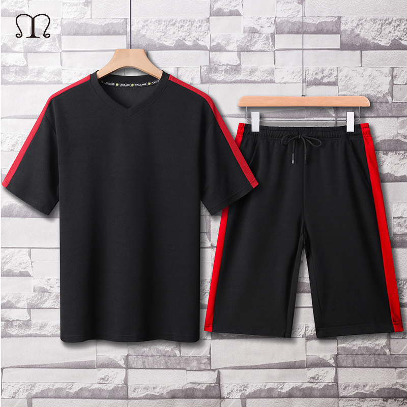 Mens Tracksuit Summer Fashion Casual Men Fitness Sets  Patchwork V Neck T Shirt Shorts Male Sports Suit Streetwear Plus Size 4XL