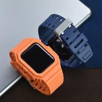 Correa de goma TPU + funda protectora de 38mm, 40mm, 42mm y 44mm para Apple Watch serie iWatch SE/6/5/4/3/2, repuesto de correa de reloj resistente al agua