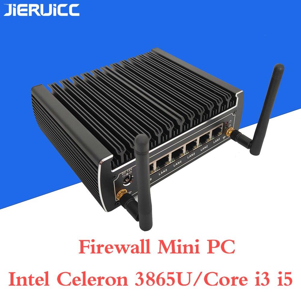 6 Ethernet LAN Fanless Pfsense Mini PC Intel Kabylake Core I3 7100u DDR4 Ram AES-NI Linux Firewall Pfsense Router Network Server