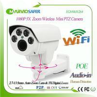 H.265 1080P Human Detection Bullet Outdoor 5X IP PTZ Wifi IP CCTV Camera Wireless Wi fi IPcam Camara With TF Card Slot Audio