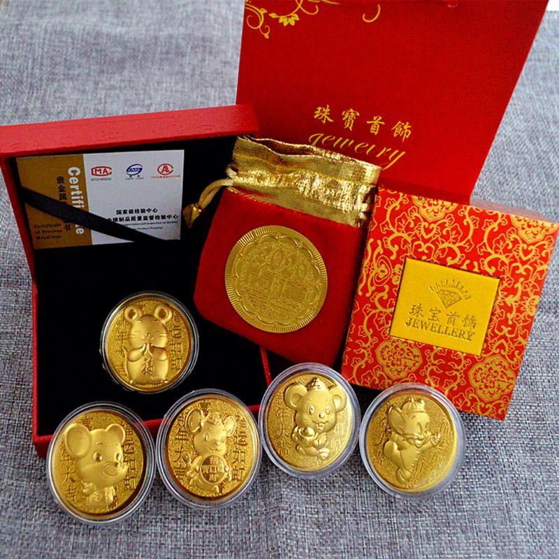 2020 New Year Rat Commemorative Coin Chinese Zodiac Souvenir Golden Mascot Mouse Coins Lucky Wealth New Year Coin Gift