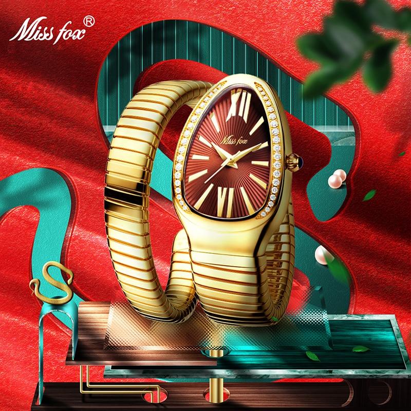 MISSFOX Women's Watches Snake Shape Luxury Wrist Watch For Women Steel Unique Gold Quartz Ladies Watch Clock Relogio Feminino