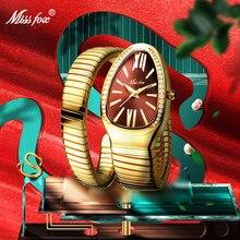MISSFOX – montre-bracelet de luxe en forme de serpent pour femmes, en acier, or, Quartz, Unique, pour dames