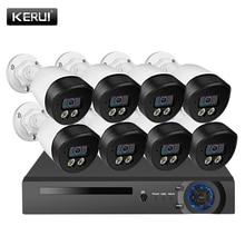 KERUI H.265 8 채널 POE 보안 카메라 시스템 키트 5MP 양방향 오디오 IP 카메라 야간 투시경 비디오 감시 시스템 CCTV 키트