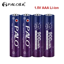 PALO 100% kapasiteli 1.5V AAA ı ı ı ı ı ı ı ı ı ı ı ı ı ı ı ı ı ı ı ı iyon pil 3A 1.5V 900mWh lityum Li ion şarj edilebilir pil Bateria piller termometre