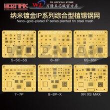 WL Nano Gold Überzug Umfassende BGA Reballing Schablone für IPHONE 5S 6G 6P 6S 6SP 7 7P 8 8P X XS XSMAX CPU IC Reparatur Vorlage