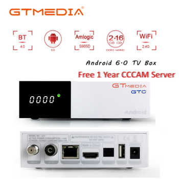 GTmedia GTC Receptor DVB-S2 DVB-C DVB-T2 ISDBT Amlogic S905D android 6.0 TV BOX 2GB 16GB Satellite 1 Year IPTV Receiver TV Box