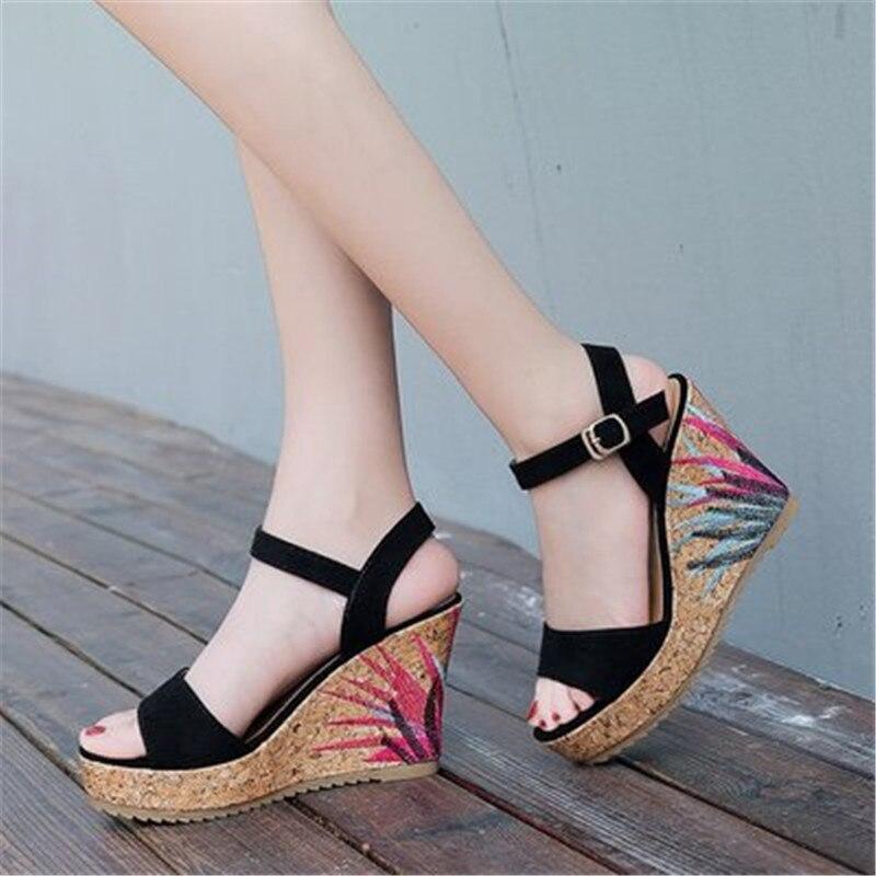 Босоножки женские классические на платформе, элегантные сандалии на танкетке, с ремешком на щиколотке и пряжкой, открытый носок, высокий ка...