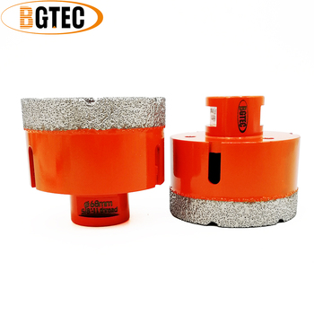 BGTEC 2pc 68mm Vacuum brazed diamond Dry drilling bits 5/8-11 connection Hole saw porcelain tile, granite, marble Drill core bit