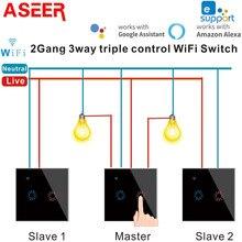 Aseer ewelink pçs/set 1/2/3 gang 3 vias controle inteligente interruptor wi fi, toque de vidro parede luz interruptores compatível alexa google casa