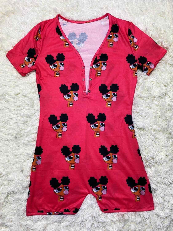 QYQ Gushers aperatif Onesie pijama kadınlar için artı boyutu Bodysuit ganimet Bodycon streç seksi Romper Barbie kötü kız kulübü Onesie yumuşak