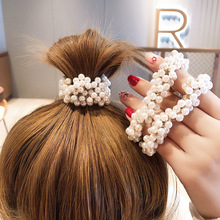 Fashion Girls Elegant Colorful Faux Pearl Beads Tie Elastic Hair Bands Rope Scrunchie Ponytail Holder Hair Accessories for Women chic faux pearl tassel elastic anklet for women