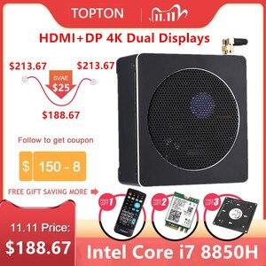 Image 1 - Topton משחקי מיני מחשב Intel Xeon E3 1505M i7 8850H 6 Core 12M מטמון 2 * DDR4 Nvme M.2 nuc מיני מחשב שולחני Win10 פרו AC WiFi