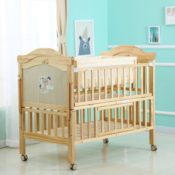 Luxury European-Style Pine Log 2 in1 Baby Cribs with Mosquito Net and Solid Wood Storage Rest Baby Bed Cradle for Toddler Kids luxury pine solid wood logs baby crib adjustable 3 in 1 stitching multifunctional storage cradle baby bed with guardrail for kid
