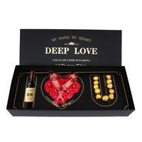 Caja de regalo vacía de papel de flores, conjunto de joyería de vino, Chocolate, corazón grande, rosa, forma de letra, te amo, logotipo personalizado, lote de lujo