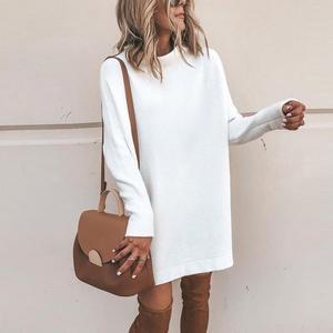 Image 4 - New Turtleneck Solid Knitted Sweaters Dress Women Long Sleeve Slim Streetwear Pullovers Oversized Sweater Pull