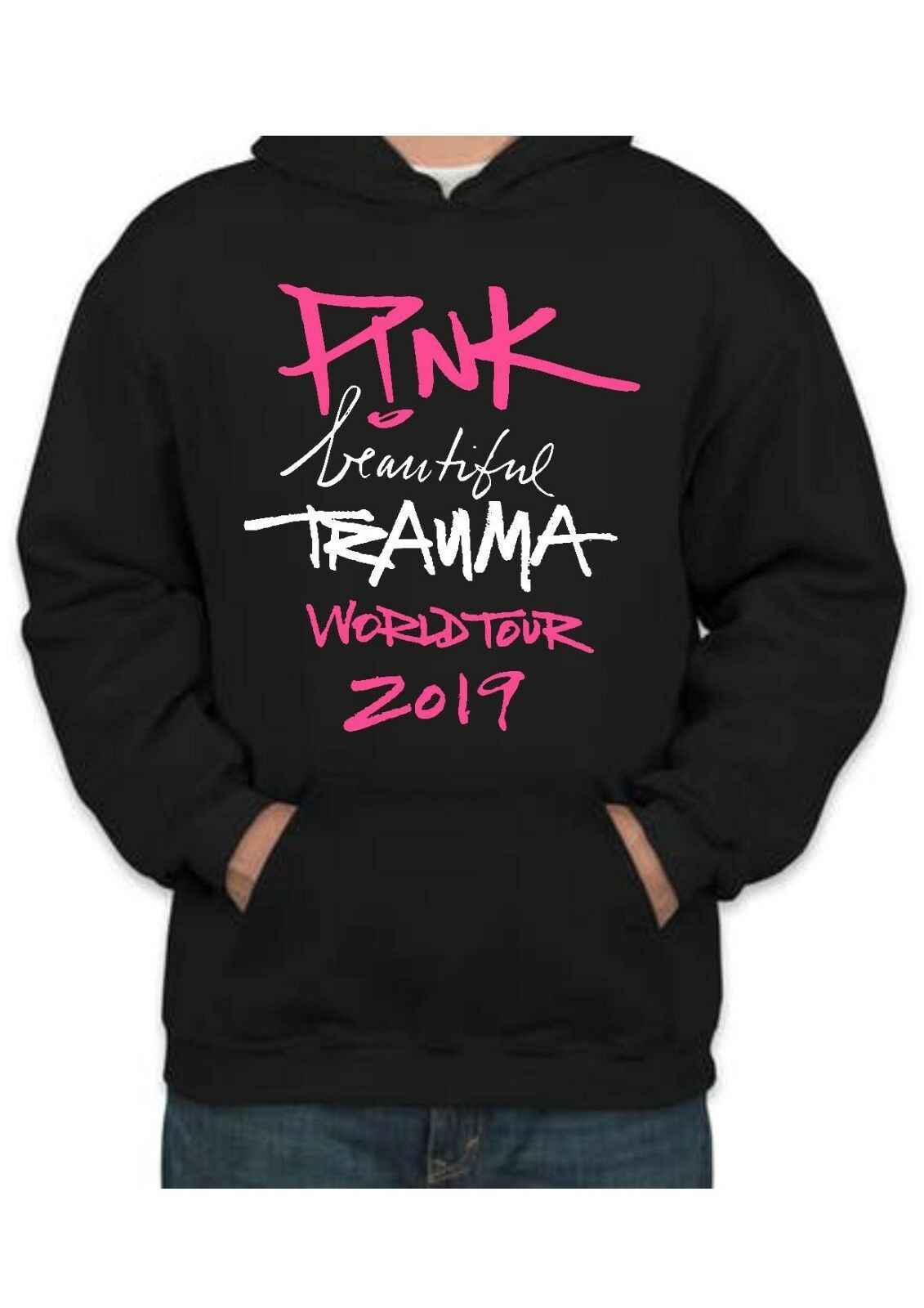 Rosa-belo trauma world tour 2019 unissex hoody idade 5/6-3xl pop ícone concerto roupas masculinas femininas casaco com capuz