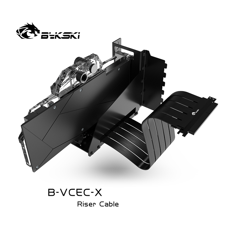 Bykski B-VCEC-X B-PCI-E-X GPU Extension Cable Graphics Card GPU 90 Degree Stand Line VGA Support Cable Extender GPU Holder