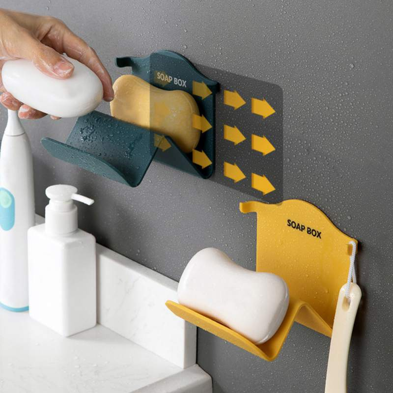 Household Bathroom Soap Boxes Wall Mounted Soap Holder Portable Drain Soap Dishes Soap Box Bathroom Accessories