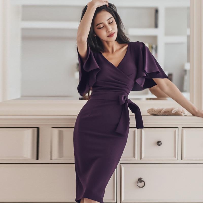 BacklakeGirls Sexy V Neck Lotus Leaf Short Sleeve High Waist Cocktail Dress Knee-length Purple Party Dress Robe De Soirée 2019