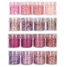 Zestaw 4 masywnych różowa seria brokat do paznokci cekinami pyłkiem na zdobienie paznokci dekoracje zestaw gradientowy ultra-cienki lakier do paznokci