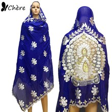 Afrika kadınlar eşarp müslüman işlemeli büyük eşarp güzel arkasındaki tasarım yumuşak pamuk eşarp için boncuk ile şal BM649