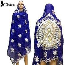 Le donne africane sciarpe musulmano ricamato grande sciarpa nizza disegno sul retro sciarpa di cotone morbido con PERLINE per scialli BM649