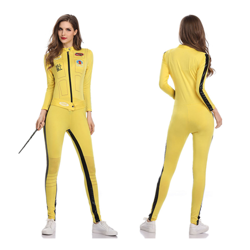 Sexy Kill Bill Beatrix Kiddo Cosplay Jumpsuit Motorcycle Lala Costume Women Pole Dance Hot Cloth Halloween Carnival Racing Girl