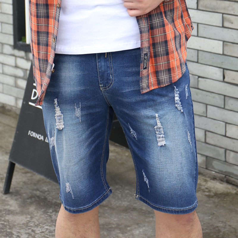 With Drawstring With Holes Large Size Capri Jeans Men's Thin Fat Elasticity Elastic Waist Plus-sized Capris 5701